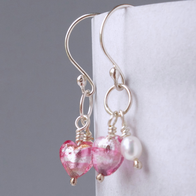 Bridesmaids' Gift Pink Murano Heart and Pearl Earrings on Sterling Silver Wires