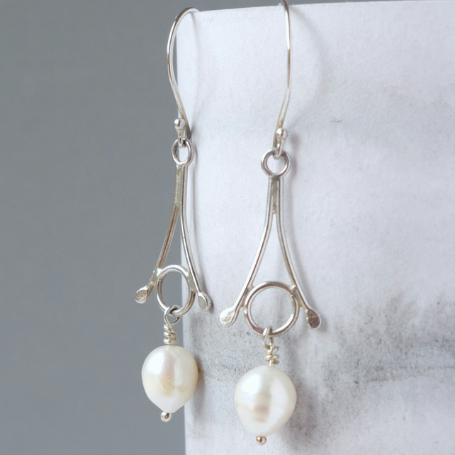 Bridal Freshwater Pearl and Sterling Silver Stylized Snowdrop Earrings