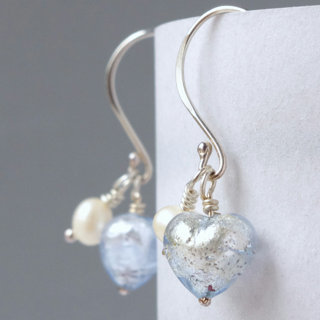 Bridesmaids' Gift Ice Blue Murano Heart and Freshwater Pearl Earrings