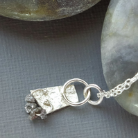 Sterling Silver and Natural Grey Diamond Crystal Minimalist Primitive Pendant