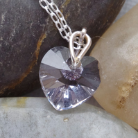 Bridesmaid's Mauve Austrian Crystal Heart Necklace In Sterling Silver With Chain