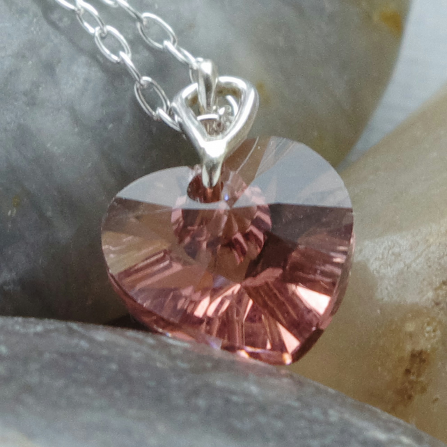 Bridesmaid's Pink Austrian Lead Crystal Heart Shaped Pendant In Sterling Silver