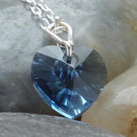 Blue Austrian Crystal Heart Pendant In Sterling Silver With Chain