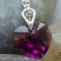 Valentines Day Gift Purple Austrian Crystal Heart Necklace In Sterling Silver