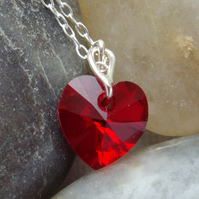 Valentines Gift Ruby Red Austrian Crystal Heart Necklace In Sterling Silver