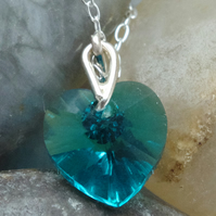 Bridesmaid's Gift Teal Green Austrian Crystal Heart Pendant In Sterling Silver