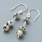 Dalmatian Jasper Semi Precious Gemstone Sterling Silver Beaded Drop Earrings