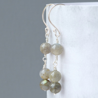 Sterling Silver and Labradorite Minimalist Drop Earrings With Three Natural Gems