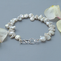 White Keishi Pearl and Sterling Silver Bohemian Brides Bridal-wear Bracelet
