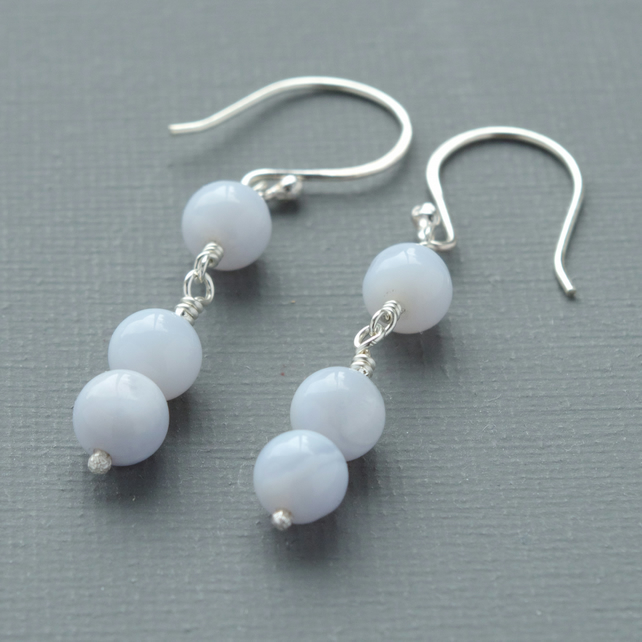 Blue Lace Agate Semi Precious Gemstone and Sterling Silver Beaded Drop Earrings