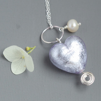 Sterling Silver Pale Violet Murano Heart Pearl Celtic Spiral Pendant