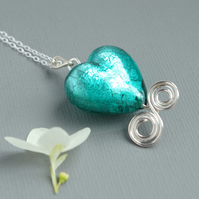 Emerald Green Murano Heart Sterling Silver Wave Sea Spiral Bridesmaids' Pendant