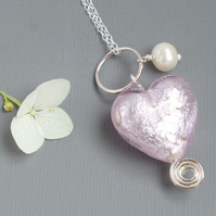 Pale Rose Pink Murano Heart and Freshwater Pearl Sterling Silver Spiral Pendant