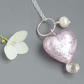 Pale Rose Pink Murano Heart Freshwater Pearl Sterling Silver Bridesmaid Pendant