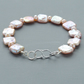 Natural Peach Coloured Freshwater Square Pearl Bracelet Sterling Silver Clasp