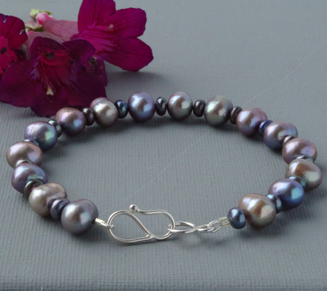 Grey Freshwater Peacock Pearl Bracelet With Hand Forged Sterling Silver Clasp