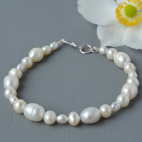 Bohemian Brides Ivory Cream Freshwater Pearl Bracelet  Sterling Silver Clasp