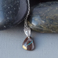 Raw Natural Australian Boulder Opal Pendant Stone Textured Sterling Silver Bail