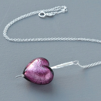 Amethyst Murano Heart Pierced With A Sterling Silver Arrow Pendant Necklace