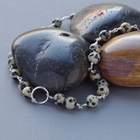 Black and White Spotty Dalmatian Jasper Stone and Sterling Silver Karma Necklace