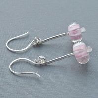 Fine Silver Hammered Drop Dangle Earrings Pink Paperweight Glass Beads SeaUrchin