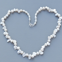 White Real Keishi Pearl Necklace Hand Knotted Pure Silk Thread 925 Silver Clasp