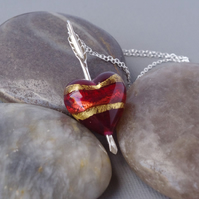 Cupid's Dart Pendant Ruby 24K Gold Murano Heart Sterling Silver Arrow