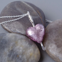Light Amethyst Murano Heart Pierced by Sterling Silver Arrow Pendant
