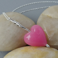 Bridesmaids Pink Murano Heart and Sterling Silver Forged Arrow Pendant Necklace