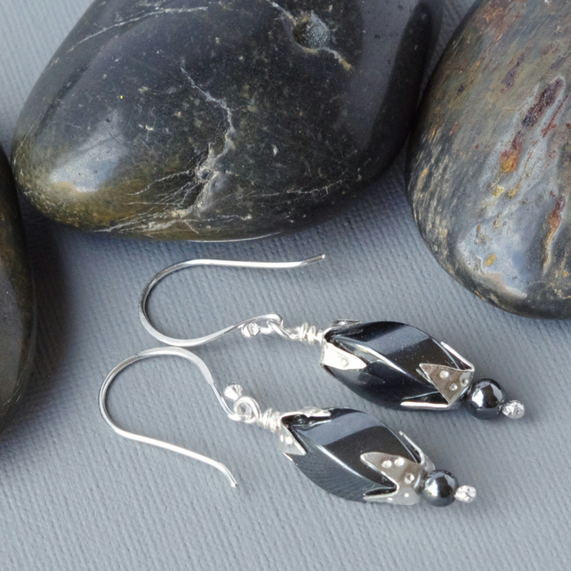 Sterling Silver Clasped  Blue Grey Metallic Hematite Drop Earrings Forged Hooks
