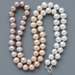 Ombre Graduated Freshwater Pearl Necklace Hand Tied On Silk 925 Silver Clasp