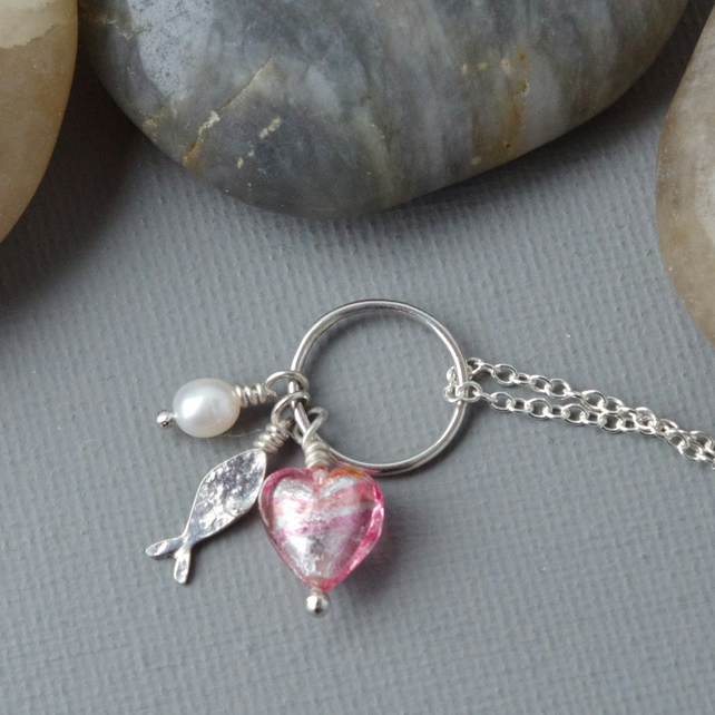 Hallmarked Sterling Silver Fish Pendant Necklace Pink Murano Heart & Pearl