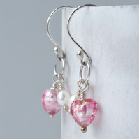 Raspberry Pink Striped Murano Heart & Pearl Earrings on Sterling Silver Wires