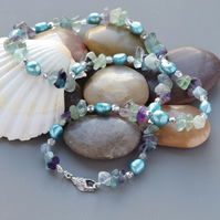 Rainbow Fluorite Rough Gemstone and Blue Freshwater Pearl Long Mermaid Necklace