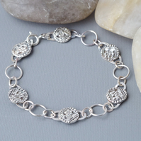 Hallmarked Solid Sterling Silver Heavy Chain Flower Bracelet Victorian Style