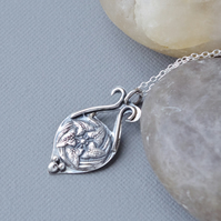 Ivy Leaf Hallmarked Sterling Silver Pendant Cast From Antique Art Nouveau Button