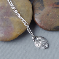 Hallmarked Sterling Silver Heart Cockle Shell Pendant Cast in Recycled Silver