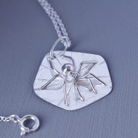 Sterling Silver 3D Naturalistic Spider on Web Pendant Winter Woodland