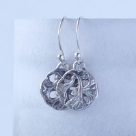 Hallmarked Art Nouveau Sterling Silver Leaf Earrings Cast From An Antique Button