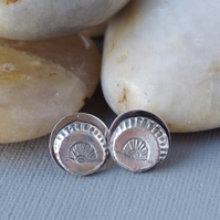 Hallmarked Sterling Silver Art Deco Fan Stud Earrings Cast From A Vintage Button