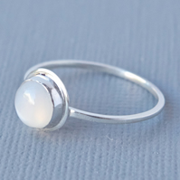 Sterling Silver White Moonstone Primitive Minimalist Solitaire Ring