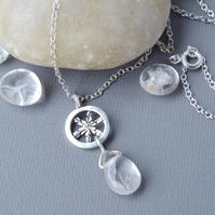Sterling Silver Snowflake Necklace Pendant Clear Quartz Gemstone Briolette Drop