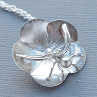 Sterling Silver Crab Spider Pendant, Naturalistic on Geraniam Cranesbill Flower