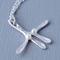 Hallmarked Sterling Silver and Fine White Freshwater Pearl Mistletoe Pendant