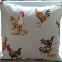 "Chickens Cushion Cover 16"" Beige"