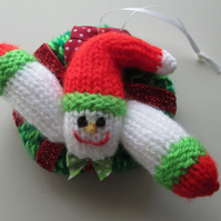 Mini Knitted Snowman Wreath Decoration