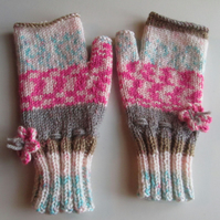 Fairisle Effect Fingerless Gloves (3)