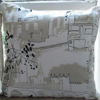 London Bus and Houses of Parliament Cushion Cover