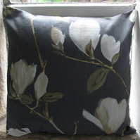 "Grey Magnolia Cushion Cover 16"" (40cm) (1)"