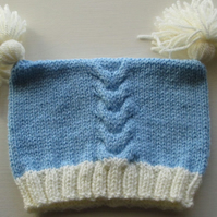 Blue Baby Hat with Contrast Cream Tassels